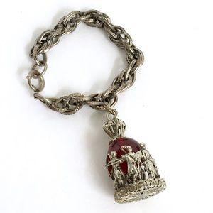 Vintage Large Single Charm Bracelet Silver Tone